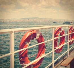 buoys on the boat. Marine theme