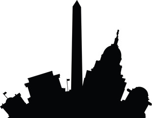 Cartoon building silhouette of famous landmarks in Washington D.C., USA.