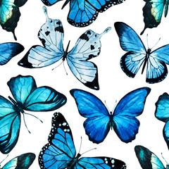 Watercolor butterfly pattern raster