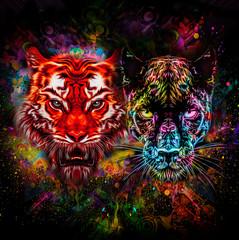 Красочный тигр и Пантера с краской плещется на черном фоне