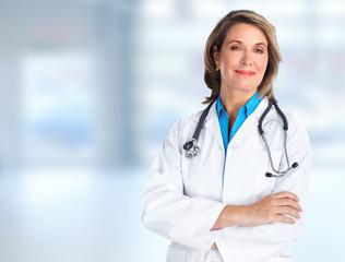 Elderly hospital doctor woman.