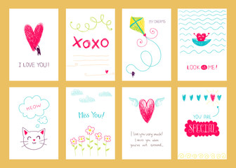 Hand drawn romantic posters