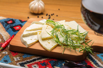 Fresh Georgian cheese homemade recipe with herbs tarragon