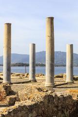 Archeologische opgraving van de Fenicische nederzetting Nora op Sardinië