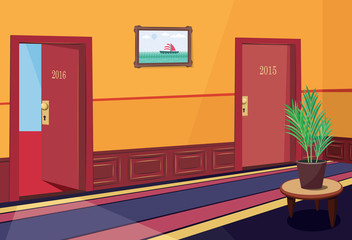 Interior luxury hotel hallway. New Year background 2016. Simple cartoon vector illustration.