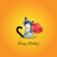 """Cute grumpy cat with roses and inscription """"Happy Birthday!"""""""