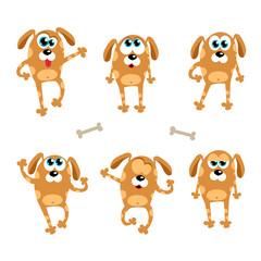Cartoon dogs - vector set. Isolated illustration in flat style.