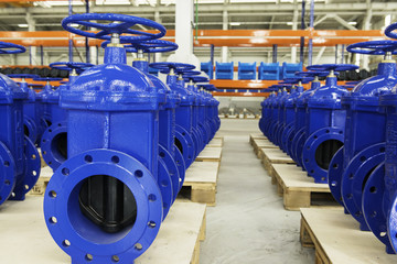 New water pipelines with valve on plant`s stock