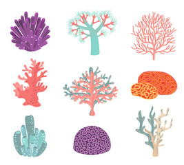 Wall Mural - Set of underwater color coral icons