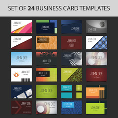 Set of 24 Business Card Templates - Colorful Backgrounds and Designs