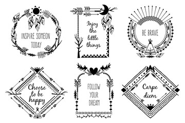 Tribal design frames with text