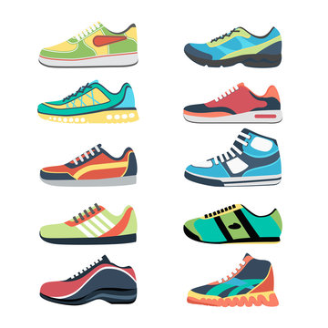 Sports shoes vector set