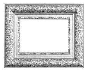 Silver vintage frame isolated