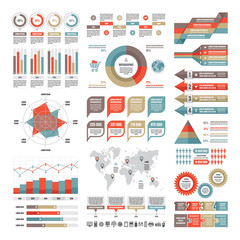 Business infographic concept - vector set of infographic elements in flat design style for presentation, booklet, website etc. Big set of Infographics. Infographics collection. Vector icons set.