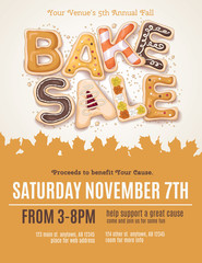 Hand drawn type for a Fall Bake Sale in the shape of delicious and colorful cookies on a flyer, brochure, poster template layout.