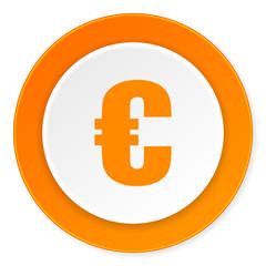 euro orange circle 3d modern design flat icon on white background
