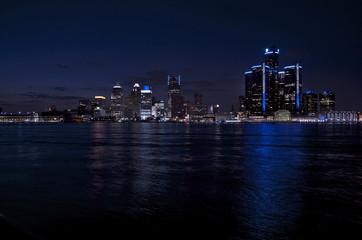 Detroit City Panoramic Night Shot With Lights 2015