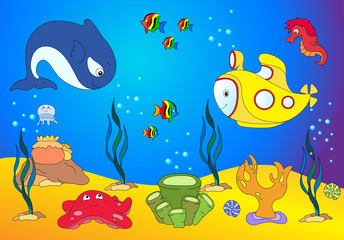 Ocean inhabitants and submarine. jellyfish, starfish, sea-horse,