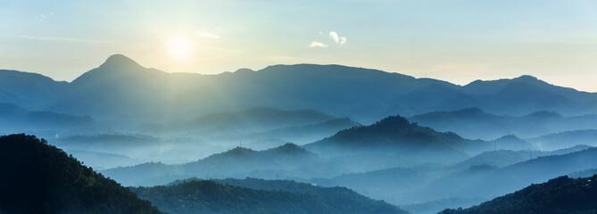 Wall Murals Mountains Glorious Sun Rising over Mountains