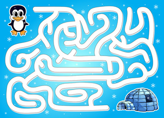 Help penguin to find way to igloo in a winter maze
