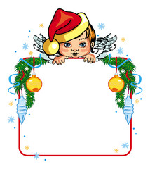 Holiday frame with little angel and Christmas decorations