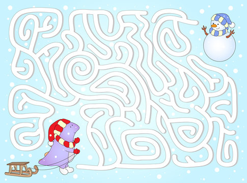 Help dinosaur to find way to his friend snowman in a winter maze