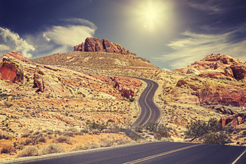 Retro stylized picture of a country road, travel concept, USA.