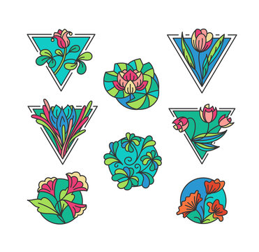 Colorful floral icons