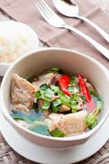 hot and spicy pork rib hot pot with tamarind and Thai herbs