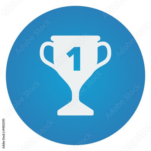 Flat White Trophy Icon On Blue Circle
