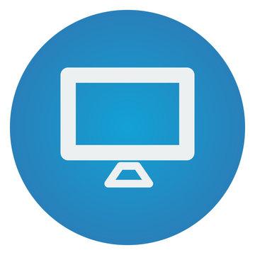 Flat white Computer Screen icon on blue circle
