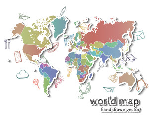 Hand drawn realistic world map.