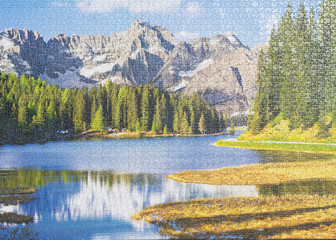 Puzzle picture background mountain lake (puzzle from three thousand pieces)