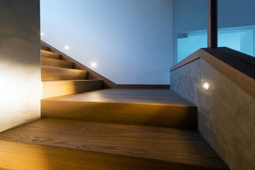 Detail of lights illuminating the stairway at night
