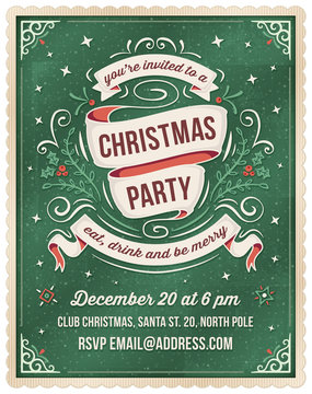 Green Christmas Party Invitation Template