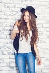 Beautiful carefree young casual woman
