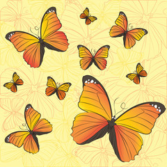 Vector pattern of yellow butterflies