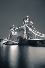 Wall Mural - Tower Bridge at night in black and white