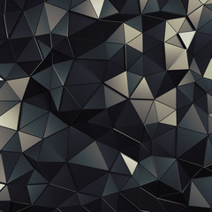 Abstract 3D Rendering of Low Poly Dark Surface.