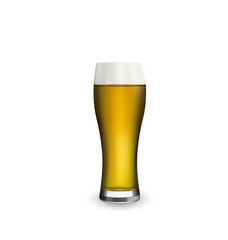 Close up realistic glass of beer isolated on white background