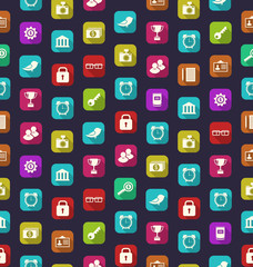 Seamless Pattern with Business and Financial Colorful Icons