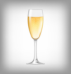 Realistic Glass of Champagne Isolated