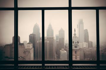 Fototapete - Philadelphia city rooftop