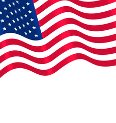 Flags USA Waving Wind and Ribbon