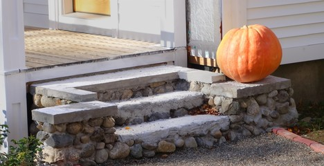 pumpkin on stairs