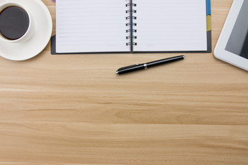 Office supplies on the wooden desk