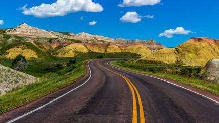 Road through Badlands National Park in South Dakota