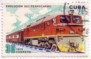 A post stamp printed in Cuba shows moving train and devoted evolution of railway traffic,series .Circa 1975