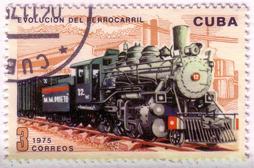 CUBA - CIRCA 1975 : A post stamp printed in Cuba shows moving train and devoted evolution of railway traffic,series .Circa 1975