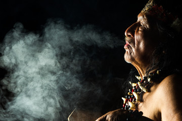 shaman amazon ayahuasca ecuador ritual medicine people ancient tribe indigenous smoke sorcerer in ecuadorian amazon during a genuine ayahuasca ceremonial picture as seen in april 2015 shaman amazon a
